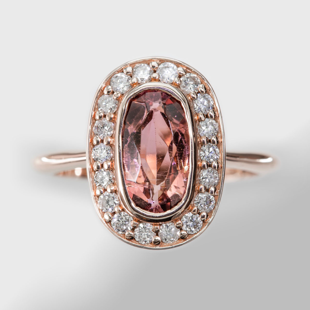 Pink Oval Tourmaline Diamond Halo in Rose Gold