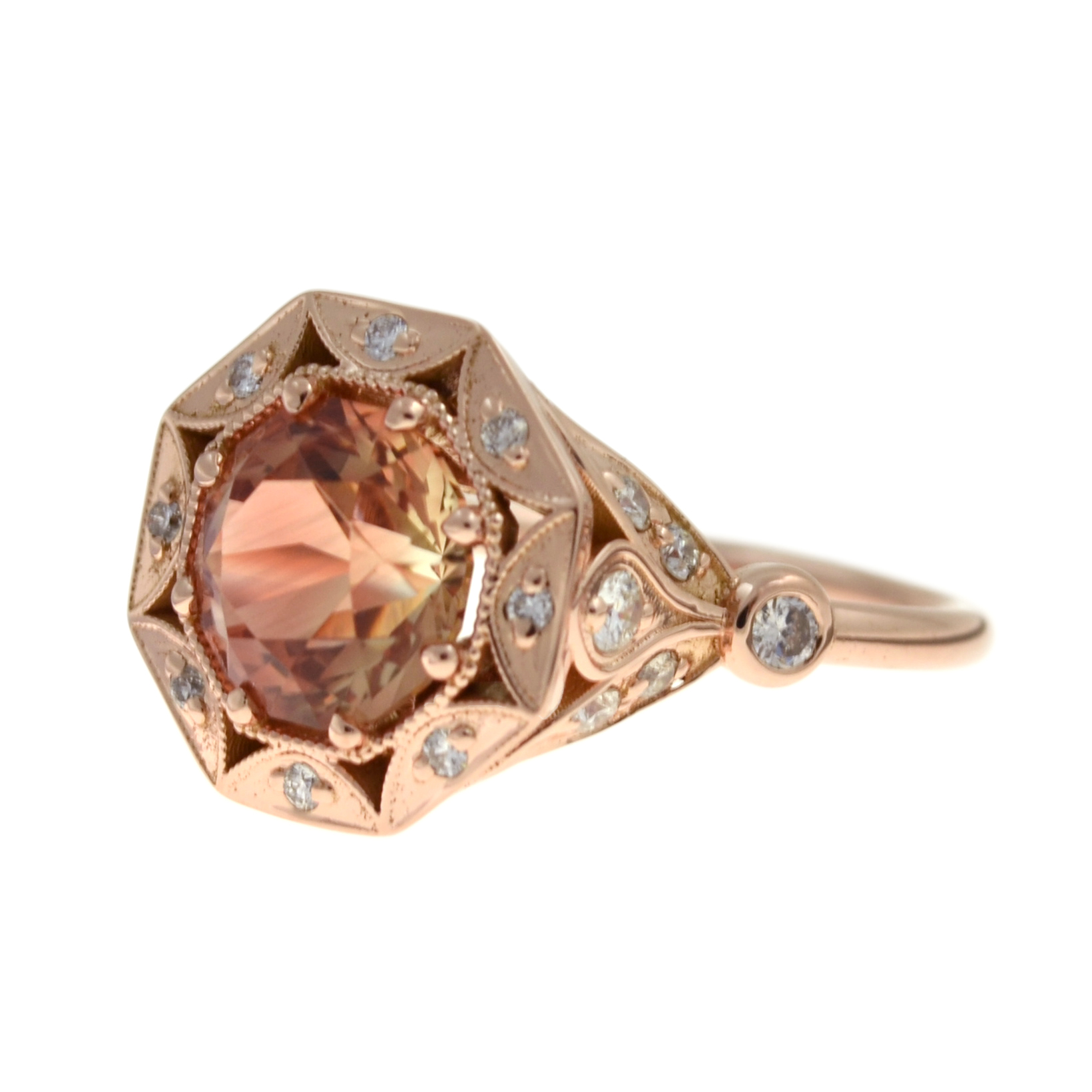 wedding engagement rose rings pave products ring stone round gold sunstone sun diamond